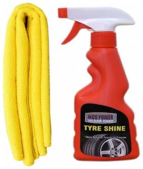 TYRE SHINER SPRAY 250ml.+ 1PC CAR MICROFIBER CLOTH YELLOW.