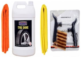 TYRE SHINER 5ltr+ + 2PC CAR MICROFIBER CLOTH (ORANGE + YELLOW)+ Tubelass smart Panchar Kit.