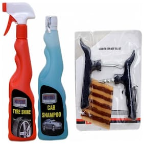 TYRE SHINER SPRAY 250ml+ CAR SHAMPOO 250ml+ Tubelass smart Panchar Kit.