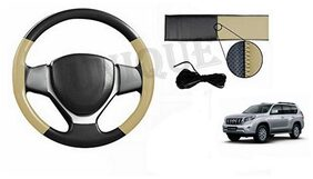 True Vision Car Hand Stitch Steering Cover Beige And Black For Toyota Prado