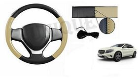 True Vision Car Hand Stitch Steering Cover Beige And Black For Mercedes-Benz E-Class