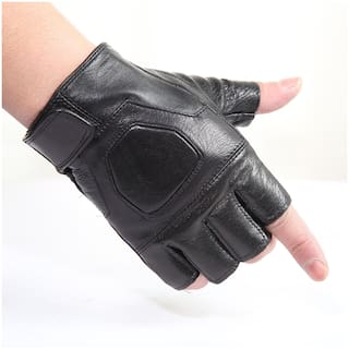 Unisex Leather Tactical Gloves Outdoor Breathable Anti-skid Half-finger Gloves for Training