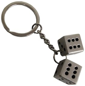 Utkarsh Premium Synthetic Metal Base Unisex Two Dice Metallic Toy Key Ring/Keychain For Bikes/Scooty And Cars (Silver)
