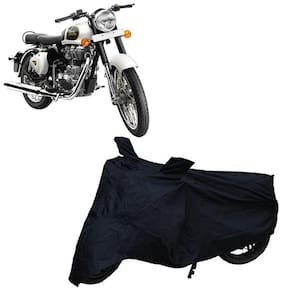 Utkarsh Premium Quality Black Matty Two Wheeler Bike Body Cover For Royal Enfield Bullet Classic 350 With Mirror Pocket