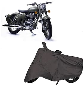 Utkarsh Premium Quality Grey Matty Two Wheeler Bike Body Cover For Royal Enfield Bullet Classic 500 With Mirror Pockets