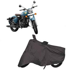 Utkarsh Premium Quality Grey Matty Two Wheeler Bike Body Cover For Royal Enfield Bullet Classic 350 Signals With Mirror Pockets