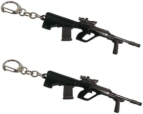 Utkarsh PUBG Players Unknown Battle Grounds Metal Base Synthetic PUBG Theme Gun Toy Assault Rifle AUG Metallic Toy Key Ring/Keychain For Bikes/Scooty And Cars (Set of 2)