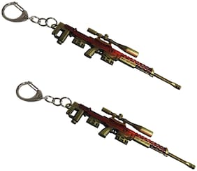 Utkarsh PUBG Players Unknown Battle Grounds Metal Base Synthetic PUBG Theme Gun Toy Assault Rifle AWM Metallic Toy Key Ring/Keychain For Bikes/Scooty And Cars (Maroon & Golden) (Set of 2)