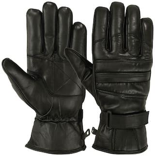 V-Luma Black Leather Warm Gloves