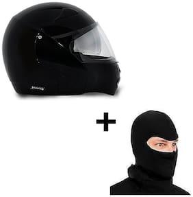 Vega Helmet Boolean With Face Mask(Black)
