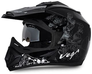 Vega Off Road DV Sketch Full Face Helmet Black Base With Silver Graphic (1 Piece)