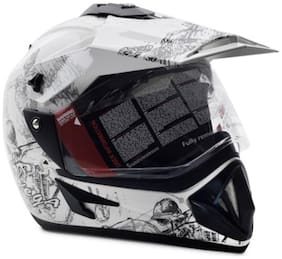 Vega Off Road Sketch Motorsports Full Face Helmet White And Silver