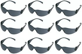 VEZUAL Black Goggles Hard Coated Scratch Resistance UV Protected Safety Glasses (Pack of 9)
