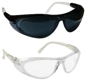 VEZUAL Goggles Hard Coated;Scratch Resistance;UV Protected Safety Glasses (Black & White