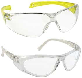 VEZUAL Goggles Hard Coated;Scratch Resistance;UV Protected Safety Glasses (Yellow 2 pc + Clear 2 pc)