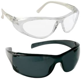 VEZUAL Goggles Hard Coated;Scratch Resistance;UV Protected Safety Glasses (Clear 3 Pcs + Black 3 Pcs)