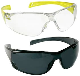 VEZUAL Goggles Hard Coated;Scratch Resistance;UV Protected Safety Glasses (Yellow 1 pc + Black 1 pc)