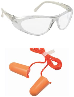 VEZUAL UV Protected Safety Goggles (Clear Glasses Pack of 5) & 1110 Corded Foam Noise Reduction Ear Plug (Pack of 20)