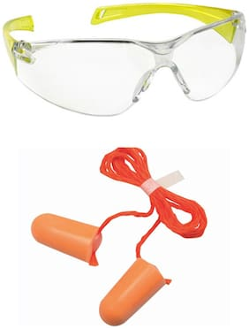 VEZUAL UV Protected Safety Goggles (Yellow Pack of 3) & 1110 Corded Foam Noise Reduction Ear Plug (Pack of 30)