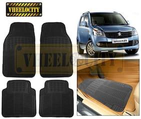 Vheelocity Car Foot Mat Black Premium Rubber For Maruti WagonR