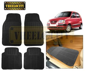 Vheelocity Car Foot Mat Black Premium Rubber For Hyundai Santro Xing