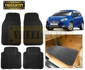 Vheelocity Car Foot Mat Black Premium Rubber For Fiat Punto