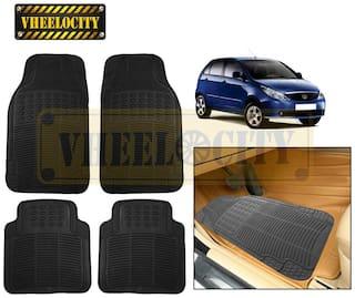 Vheelocity Car Foot Mat Black Premium Rubber For Tata Indica Vista