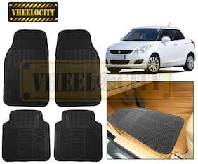 Vheelocity Car Foot Mat Black Premium Rubber For Maruti Swift Dzire