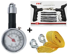 Vheelocity Metalic Tyre Pressure Gauge + Tyre Puncture Kit + Car Tow Cable
