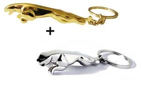 Vheelocity Silver Jaguare Keychain + Golden Jaguare Keychain