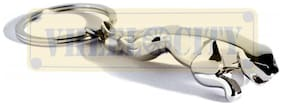 Vheelocityin Chome Plated Silver Jaguar Metallic Keychain