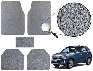 Vheelocityin Premium Grey Noodle Car Foot Mat / Floor Mat For Hyundai Creta