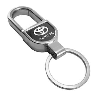 VillageTiger Silver Plated Chrome Finish Metal Car Keychain Keyring Accessories Compatible with Toyota Platinum Etios Liva, Etios Cross, Glanza, Innova Crysta Cars Bikes Keychains Key Rings