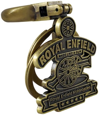 VillageTiger Royal Enfield Classic Bullet Bike Brass Metal Keychains, Key Rings for Men, Women, Boys, Girls Two Wheelers, Scooters, Cars (Yellow)