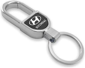 VillageTiger Silver Chrome Plated Stylish Metal Car Keychain Compatible with Hyundai Grand i10, Elite i20, Santro, Verna Sedan SUV Hatchback Electric Cars Bikes Key Chain Key Ring (Arch Shape)