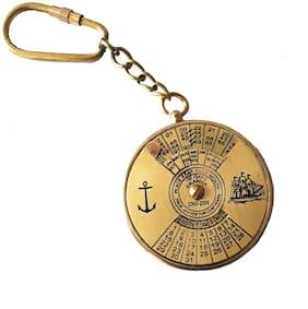 Vintage Brass Royal Navy 100 Years Calendar Working Keychain