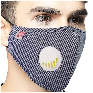Vritraz Blue Check Reusable Washable PM 2.5 N95 Anti Pollution Activated Carbon Dust Face Mask with Breathing Valve