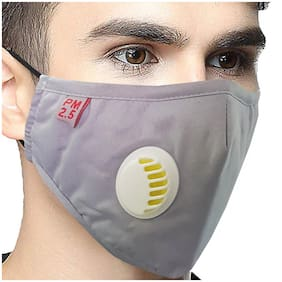 Vritraz Grey Plain Reusable Washable PM 2.5 N95 Anti Pollution Activated Carbon Dust Face Mask with Breathing Valve