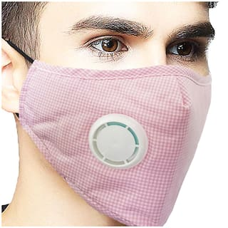 Vritraz Pink Check Reusable Washable PM 2.5 N95 Anti Pollution Activated Carbon Dust Face Mask with Breathing Valve