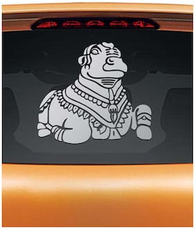WallDesign Nandi Bull Car Rear Glass Sticker- Silver