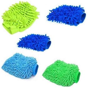 Washing Hand Glove Duster Wet and Dry Glove Set (Medium Pack of 5) For Car/ Home/ Office