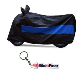 Water Proof Body Cover For Bajaj Discover 125T- black-blue with key chain