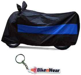 Water Proof Body Cover For Bajaj Discover 110cc- black-blue with key chain
