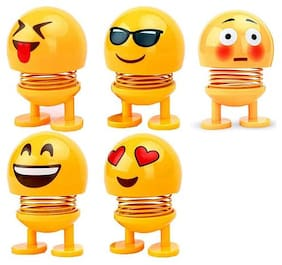 X-CROSS Emoji/Smiley Spring Doll for Car Dashboard Bounce Toys, Emoticon Figure Funny Smiley Face Springs for Car Interior Dashboard (Set Of  5)