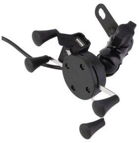 X-Grip Mobile Phone Holder with USB Charger Bike Mobile Holder  (Black)