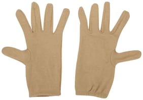 Yashinika 2 Piece Cotton Full Hand Protective Gloves Set for Men and Women - Beige