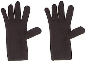 Yashinika 2 Piece Cotton Full Hand Protective Gloves Set for Men and Women - Brown
