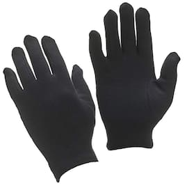 Yashinika 2 Piece Cotton Full Hand Protective Gloves Set for Men and Women - Black