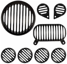 Yashinika Metal Electra Headlight Tail Light Parking Light Indicator Grill Protector for Electra 350 and 500 (Black;Set of 8) Bike Headlight Grill (Black)