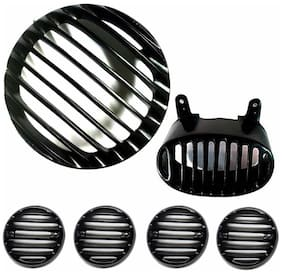 Yashinika Metal Headlight Tail Light Indicator Grill Protector Bike Headlight Grill (Black)